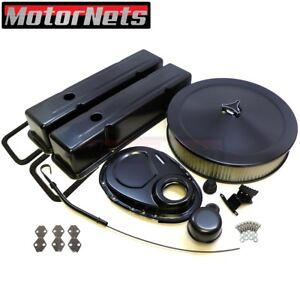 Sb Chevy Black Engine Dress Up Kit Tall Valve Covers Air Cleaner 58 79 Sbc 350