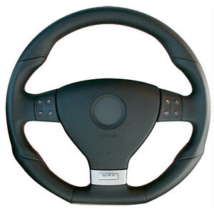 Diy Steering Wheel Cover Black Leather Hand Sewing For Vw Golf 5 Gti R32 Passat
