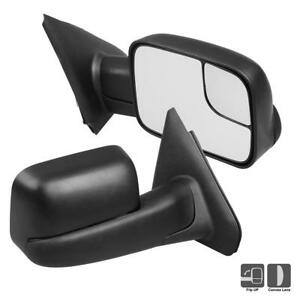 1pair Manual Towing Mirrors Flip Up Fit For 03 09 Dodge Ram 1500 2500 3500 Truck