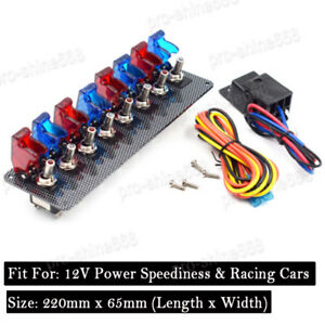 Dc 12v Ignition Switch Panel Car Engine Start Push Button Led 4 Red 4 Blue