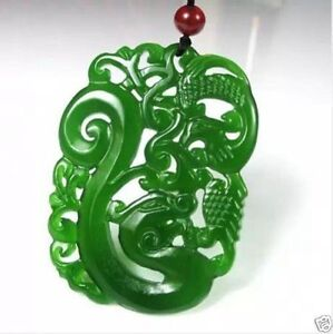 China Hand Carved Green Jade Dragon Phoenix Pendant Necklace Amulet