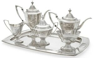 Complete Sterling Silver Tea Service With Double Handle Tray