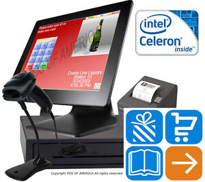 Celeron J1900 Pos retail Complete Touch station 4gb Msr Windows 10 Pcamerica Cre