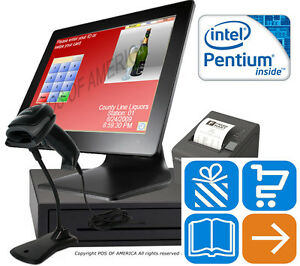 Pentium 2 10 Pos retail Complete Touch station 4gb Msr Windows 10 Pcamerica Cre