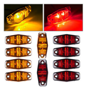 8xred Amber Led Light Surface Mount Clearance Universal Side Marker Trailer 2 5