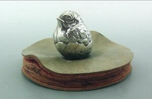 Antique Large Silver Novelty Pen Wipe Hatching Chicken Sampson Mordan