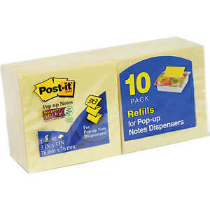 Lot Of 6 10 pack Post it Pop up Notes 3x3 inches Canary Yellow 60 Pads ab