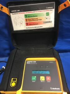 Physio Control Medtronic Lifepak 500 Defib With Battery And Pads Tested