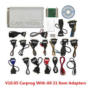 2017 V10 05 Carprog Full Newest Version With All 21 Item Adapters Car Programmer
