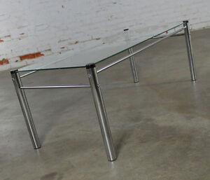 On Sale Chrome Glass Coffee Table Mid Century Modern Attributed James David