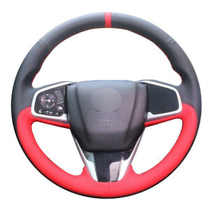 Diy Steering Wheel Cover Black Red Leather Hand Sewing For Honda Civic16 17 Crv