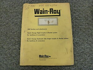 Wain Roy Swinger Bucket System On Case 680k Owner Operator Installation Manual