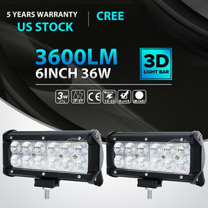 2x 36w Cree Led Work Light Bar Spot Beam Offroad Driving For Ford Jeep 4wd Truck