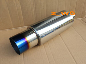 2 5 Inlet N1 Burn Tip Blue Stainless Steel Racing Resonator Exhaust Muffler