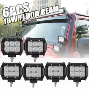 6x 4inch 18w Cree Led Light Bar Work Flood Offroad Ford Jeep Atv Truck Suv Boat