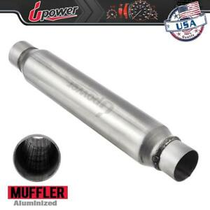 2 5 Inlet Outlet Aluminized Glass Pack Muffler 3 5 Round 18 Body Length
