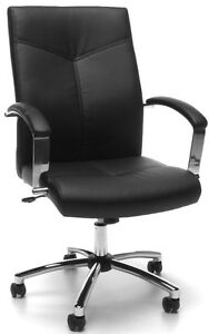 Executive Conference Office Chair In Black Softthread Leather W tilt Tension