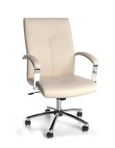 Executive Conference Office Chair In Cream Softthread Leather With Tilt Tension