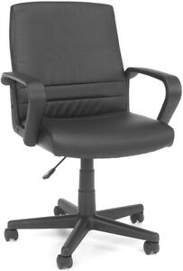 Adjustable Height Executive Conference Office Chair In Black Softthread Leather