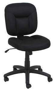 Armless Office Reception Task Chair In Black Fabric With Adjustable Height