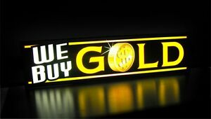 New Led We Buy Gold Coin Horizontal Jewelry Sign Light Box Neon Alternative