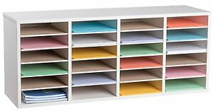 Adiroffice White 24 Compartments Adjustable Wood Literature Organizer