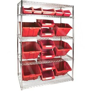 5 Shelves Stackable Storage Shelving Units With Red Plastic Bins 48 X 24 X 74