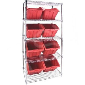 5 Shelves Stackable Storage Shelving Units With Red Plastic Bins 36 x24 x74