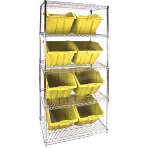 5 Shelves Stackable Storage Shelving Units With Yellow Plastic Bins 36 x24 x 4