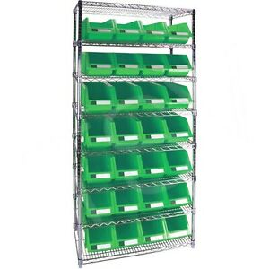 8 Shelves Stackable Storage Shelving Units With Green Plastic Bins 36 x18 x74
