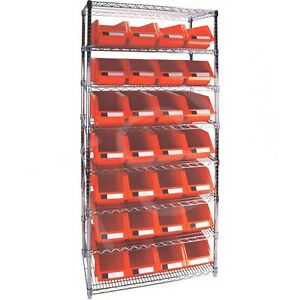 8 Shelves Stackable Storage Shelving Units With Red Plastic Bins 36 X 18 X 74