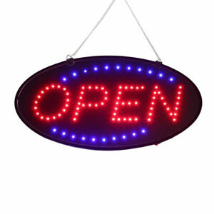 Ultra Bright Led Neon Light Oval Open Sign W Motion Animation On off Switch Lw