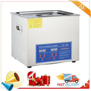10l Industry Heated New Stainless Steel Ultrasonic Cleaner Heater W timer