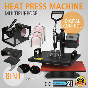 8in1 T shirt Mug Hat Plate Heat Press Machine Digital Transfer Sublimation