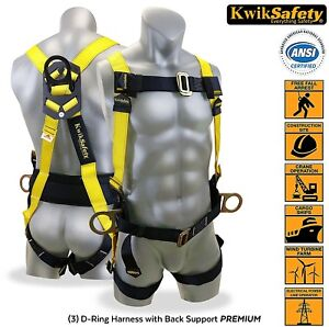 Kwiksafety 3 D Ring Industrial Fall Protection Safety Harness W Back Support New