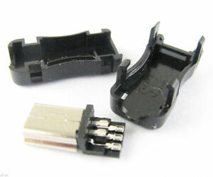 500sets Mini 5pin Usb Male Plug Socket Connector With Plastic Cover For Diy
