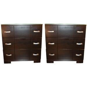 Pair Of Dark Brown Walnut Mid Century Bedside Chests In Mint Condition