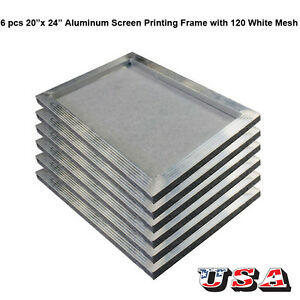 6 Pcs Aluminum Screen Printing Frame With 120 White Mesh 20 X 24 Pre streched
