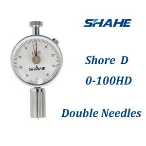 Portable Type D Shore Hardness Tester Durometer Gauge Double needle Lx d 2