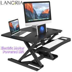 Electric Height Adjustable Standing Desk Ergonomic Soft Tabletop Monitor Home