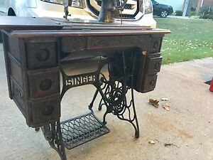 Singer Sewing Machine Early 1900s 27 4 Tiger Oak Cabinet Treadle Instru Attach S