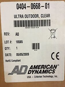 Lot Of 4 American Dynamics 0404 0668 01 Ultra Speedome Ptz Clear Cover Nib