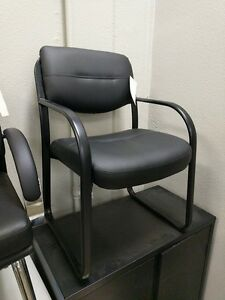 New B9529 Side Chair Guest Chair Black Vinyl And Black Metal Frame