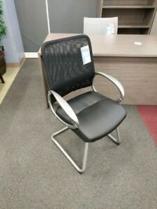 New Black Mesh Back Guest Chair Wt Metallic Grey Frame Sled Chair