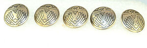 Set Of 5 Antique Vintage Sterling Silver Southwestern Thunderbird 3 4 Buttons