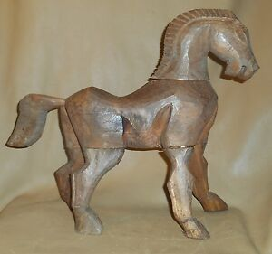 Antique Primitive Hand Carved Wooden Horse 16 Tall Folk Art