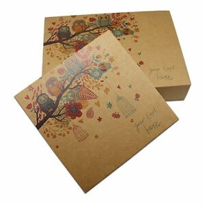 Recyclable Kraft Paper Drawer Box With Owl Printed For Gift Wedding Party Pack