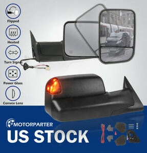 Towing Mirrors Power Heated Led Signal Light Fit 98 02 Dodge Ram 2500 3500 Base