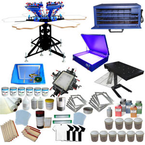 Full Set 6 Color 6station Screen Printing Equipment Kit Adjustable Press Printer