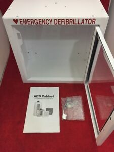 New Aed Emergency Medical Defib Cabinet Steel Wall Mount White 13 5x13x7